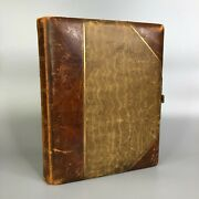 Antique 1880s Brown Leather Family Photo Album With 38 Photos - 16 Pages