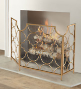 Horchow Geometric Fireplace Fire Screen Chippendale Transitional Antique Gold