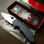 Spyderco Domino Cts-xhp Blue Carbon Fiber Limited Discontinued Near Mint