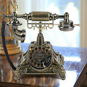 Vintage Rotary Dialing Telephone Antique Desk Wired Phone Gold Home Resin
