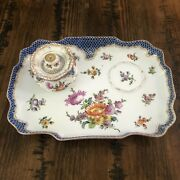 Antique Meissen Dresden Floral Scalloped Gold Blue Scales Writing Ink Tray