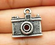 925 Sterling Silver - Vintage Petite Etched Old Fashioned Camera Pendant - P6300