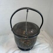 Vintage Epca By Poole Silverplate Swing Top Ice Bucket With Glass Liner 3800