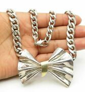 925 Silver And 14k Gold - Vintage Two Tone Bow Tie Curb Link Chain Necklace- N2467