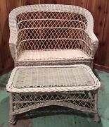 Vintage White Wicker Furniture 3piece Set Love Seat Chair And Coffee Table