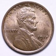 1917-d Lincoln Wheat Cent Penny Choice Bu Free Shipping E621 Actx