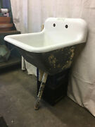 Vintage Cast Iron Laundry Utility Sink Tub Pedistal Angled Front Wide 27