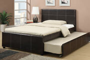 Modern Twin/full Bed W/ Trundle Espresso Colored Faux Leather Bedframe Furniture