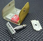 Nos 1966 Gillette Travel Tech De Safety Razor L4 W/ Case And Blade Mint And Clean
