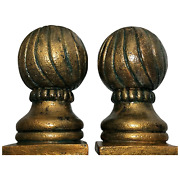 Pair Architectural French Gilt Bronzed Stone Gate Post Top Sphere Pillar Finials