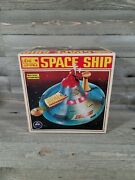 Vintage Alps Toy Battery Operated Disc Shooting Space Ship And Light Control Gun