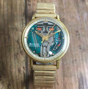 Bulova Accutron Space View M7 Watch Gold 3-hand Skeleton Dial 1960s Rare Mens
