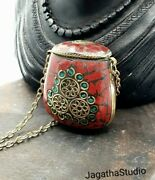 Tibetan Vintage Snuff Perfume Bottle Long Necklace, Coral And Malachite