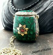 Tibetan Vintage Snuff Perfume Bottle Long Necklace, Malachite And Coral