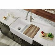 White Fireclay 60/40 Double Bowl Farmhouse Sink With Aqua Divide