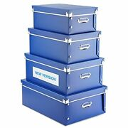 4 Pack Storage Box, Decorative Storage Bins With Lid,plastic,with A-blue