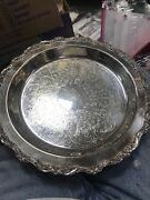 """Poole Silver Company Epca 12"""" Serving Tray Platter See Actual Photos """"nice"""""""
