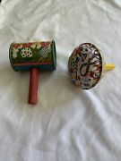 2 Tin Litho Clown Noise Maker Toys, One Marked T Cohn Made In Usa