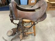 Antique 12 Inch Mcclellan Leather Wwi Military Cavalry Saddle W/horse Hair Cinch
