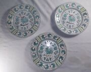 3 Vintage Orvieto Green Rooster Dishes Peasant Village P.v. Italy 07209