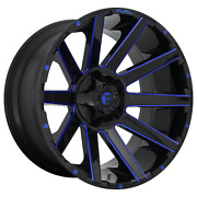 20x10 4 Wheels Rims Fuel 1pc D644 Contra Gloss Black Blue Tinted Clear -18mm