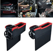 Car Driver Seat Storage Organizer Box W/ Cup Coil Pocket Left Side For Universal