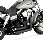 2006-2011 Harley Dyna Models Black Vance And Hines Short Shots Full Exhaust 47217