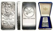 10 Troy Ounce .999 Fine Silver Bar Ronald W Reagan Limited Of 2,500 Box And Cert.