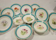 Antique English Turquoise Floral Dessert Set 4 Tazza And 7 Plates