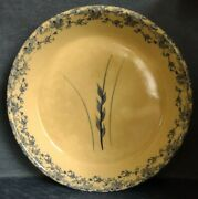 Robinson-ransbottom Pottery Roseville Ohio 9.5 Pie Plate With Blue Wheat
