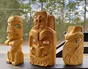 Northwest Coast Carved Yellow Cedar Mask And Totems Signed Lonewolf