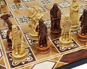 Antique Ivory And Brown Norse Viking Chess Set 3 1/4 King 17 Burlwood Color Board