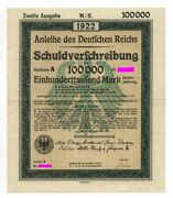 German Government Andndash Uncancelled 100.000 Mark Bond 1922 Complete With Coupons