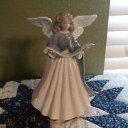 Vintage Lladro Made In Spain Christmas Tree Topper Angel With Purple Robe No Box