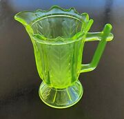 Central Glass Co Vaseline Vertical Leaf And Rib Creamer Pattern 800 Circa 1890