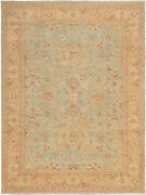Vintage Hand-knotted Carpet 9'3 X 12'3 Traditional Geometric Wool Area Rug