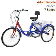 24'' Adult Tricycle 7 Speed 3 Wheel Blue Cruise Durable Convenient Shop Bicycle