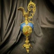 Beautifull A Large Antique France Decanter Goblet Decorative Hand Carved Decante