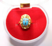 Egyptian Blue Scarab Gold 18k Ring Stamped Charm Pharaonic 2.3 Gr All Sizes