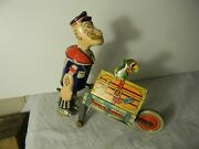 1930's Marx Popeye Express With Parrot On Top Tin Wind Up All Original Nice