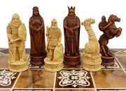 Antique Ivory And Brown Norse Viking Chess Men Set 3 1/4 King - No Board