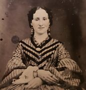 Antique Vintage American Fashion Gold Ring Earring Hair Dress Ambrotype Photo