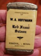 Red Front Saloon Vintage Celluloid Wrapped Match Safe W. A. Hoffman, Frazee Mn