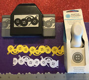 Rare Martha Stewart Ek Embossed Button Chain Sewing Craft Paper Punch Cards