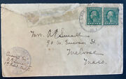1918 Us Army Postal Service 1 In France Censored Cover To Melrose Ma Usa