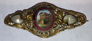 Antique Victorian 10k Gold Roman The Pantheon Pearls Brooch Micromosaic Mosaic
