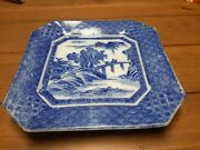 Antique Flow Blue Transferware Square Plate Early 1800's