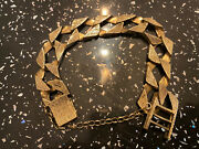 9ct Gold Hallmarked Bark Bracelet With Safety Chain Chunky Thick Mans 9andrdquo