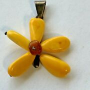 Antique Chinese Butterscotch Egg Yolk Balti Amber Sterling Silver Flower Pendant