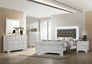 Transitional Style Frost Finish 4pc Twin Size Bedroom Set Bed Dresser Mirror Ns